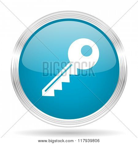 key blue glossy metallic circle modern web icon on white background