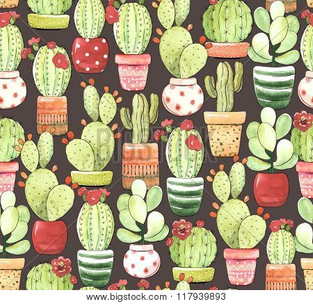 Seamless pattern of cacti in pots on dark brown background, illustration in vintage style.