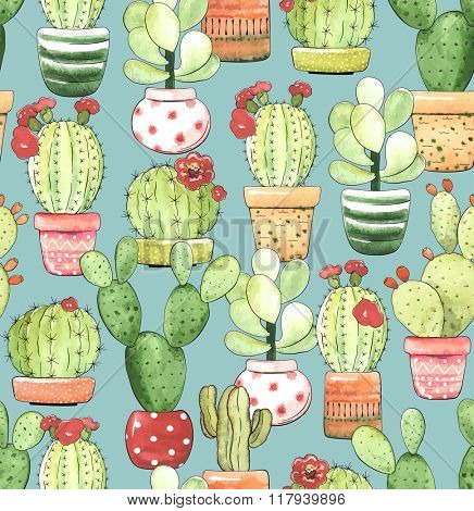 Seamless pattern of cacti in pots on turquoise background, illustration in vintage style.