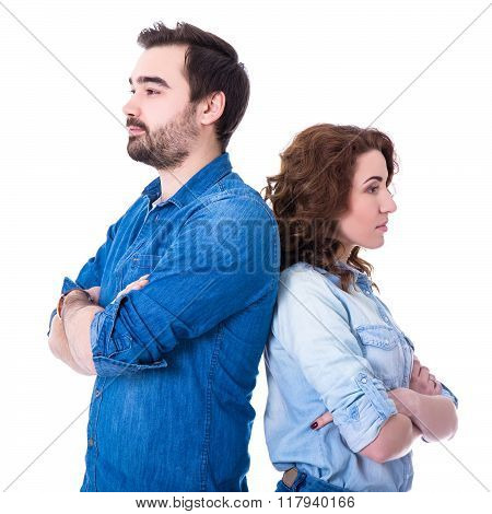 Relationship Or Divorce Concept - Portrait Of Sad Young Couple Isolated On White