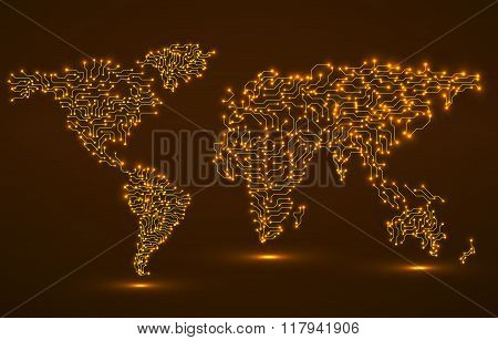 World Map. Circuit Board