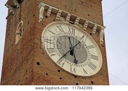 Verona, Italy - September 03, 2012: Clock On Lamberti Tower On Piazza Delle Erbe In Verona, Italy