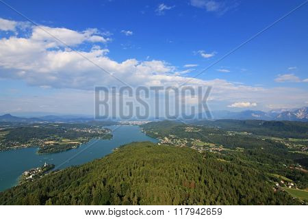 View of the Alpine lake, Woerthersee, in the southern Austrian state of Carinthia.
