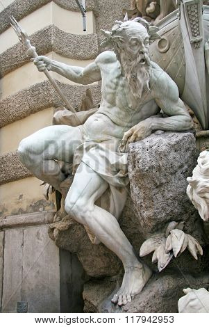 Vienna, Austria - April 23, 2010: Details Of The Fountain The Power Of The Sea Near The Hofburg Pala