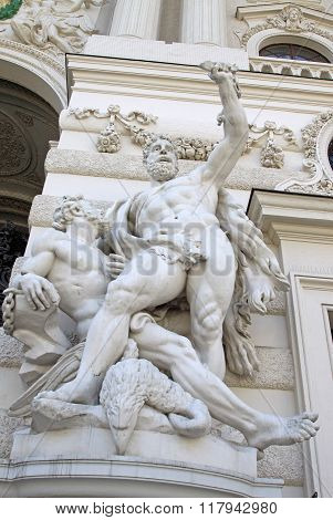 Vienna, Austria - April 25, 2013: Sculpture Of Hercules Near The Hofburg Palace In Vienna, Austria