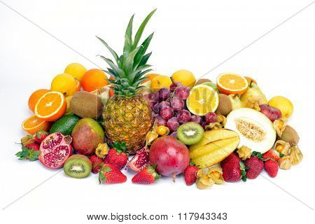 fresh tropical fruits isolated on white background