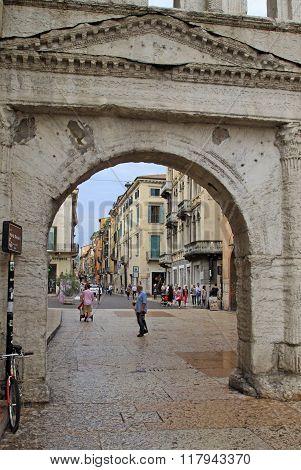 Verona, Italy - September 03, 2012: Porta Borsari In Verona, Italy