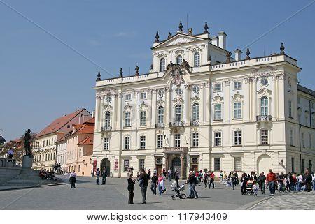 Prague, Czech Republic - April 24, 2010. Archbishop Palace, Famous Building At The Main Entrance Of