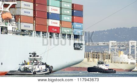 Tugboats Z-three And Revolution Assisting Cosco Guangzhou To Maneuver Into The Port Of Oakland