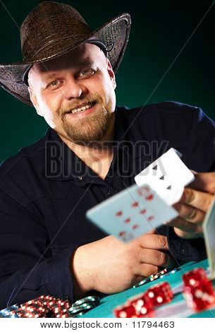 Man With A Beard Plays Poker