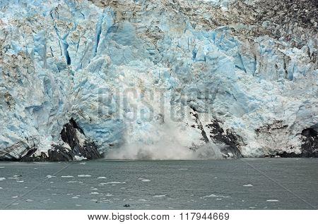 Ice Calving On A Tidal Glacier