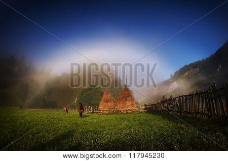mountain landscape in autumn by night - Fundatura Ponorului, Romania - long exposure image