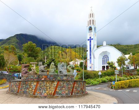 CILAOS, REUNION ISLAND, FRANCE - NOVEMBER 8, 2015: Cilaos is a town on the French island of Reunion in the Indian Ocean. It is located centrally on the island, in a caldera of altitude 1214 m.