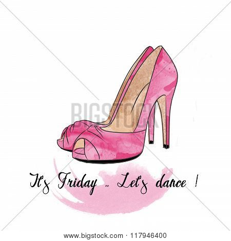 Stiletto shoes on a text and watercolor background