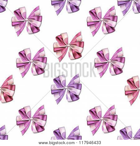 All over background Seamless pattern - Little cute bows and ribbons in vivid and bright colors on a