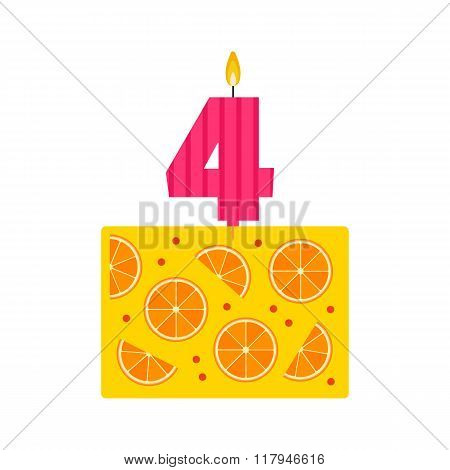 Vector Jelly Birthday Cake With A Candle Number 4