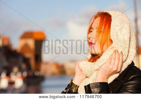 Beauty Face Redhaired Woman In Warm Clothing Outdoor