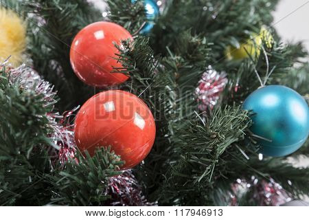 Christmas tree background with christmass balls