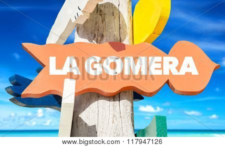 La Gomera welcome sign with beach