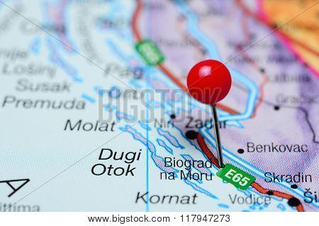 Biograd na Moru pinned on a map of Croatia