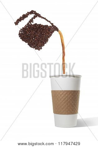 Pot Made of Beans Pouring into Paper cup