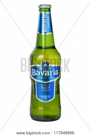 CHISINAU MOLDOVA - December 18 2015. Bottle of Bavaria Premium Beer brewed with pure mineral water. Bavaria is the second largest brewery in the Netherlands founded before 1680.