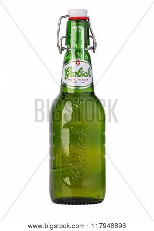 CHISINAU MOLDOVA - December 18 2015: Grolsch Premium Pilsner - known internationally as Grolsch Premium Lager is the flagship beer of Dutch Grolsch Brewery part of the SABMiller group