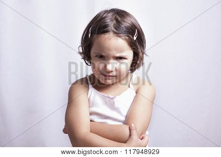 Angry Three Years Old  Little Girl