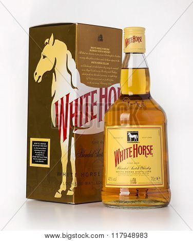 CHISINAU MOLDOVA- December 25 2015 White Horse Scotch Whisky is a blended Scotch whisky from Edinburgh first produced by James Logan Mackie in 1861