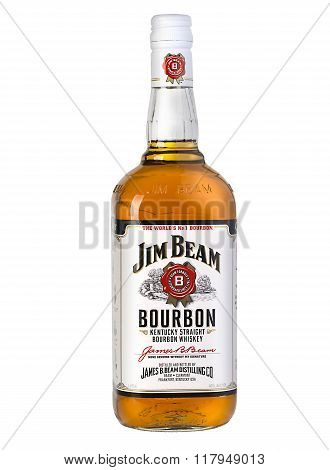 CHISINAU MOLDOVA - December 25 2015: Photo of a bottle of Jim Beam Bourbon. Jim Beam is an American brand of bourbon whiskey produced in Clermont Kentucky.