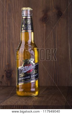 CHISINAU MOLDOVA- February 05 2016. Miller Genuine Draft is the original draft beer a product of the Miller Brewing Company owned by SABMiller.