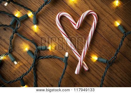 Candy Canes Making a Heart