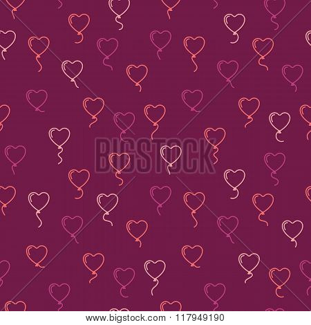 Vector Seamless Pattern With Balloons In The Form Of Hearts