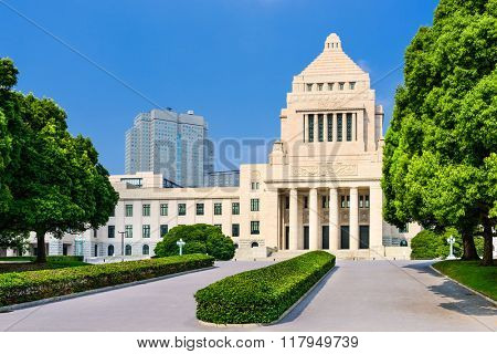 TOKYO, JAPAN - JULY 31, 2015: The Japanese National Diet building.