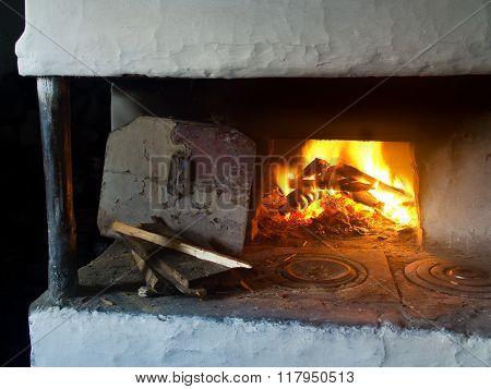 Fire In Fireplace.