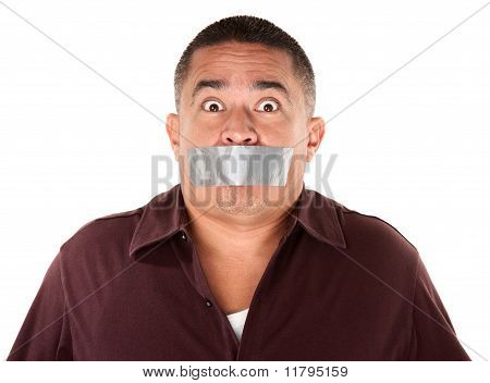 Taped Mouth Hispanic Man