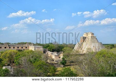 Aerial View To Pyramid Of Magician In Uxmal