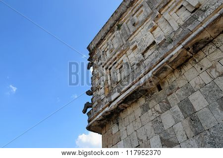 Wall Of Ancient Mayan Pyramid And Blue Sky - Bottom-up View