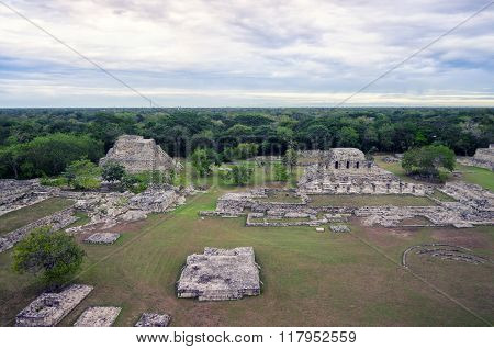 Aerial View To Mayan Ruins Surrounded By Jungles