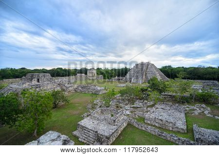 Aerial View To Mayan Pyramids Under Tragic Evening Sky