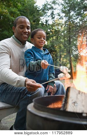 Father and son toasting marshmallows