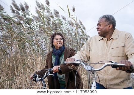 the couple cycling
