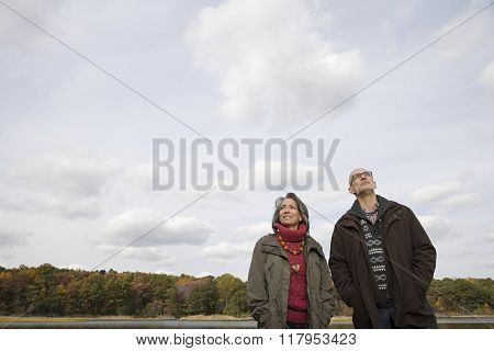 Mature couple near a forest