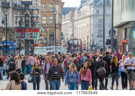LONDON,  Lots of people, tourists and Londoners  walking on new Oxford street