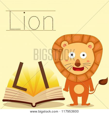 Illustrator of l for lion vocabulary
