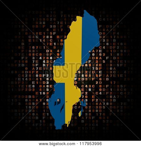 Sweden map flag on hex code illustration