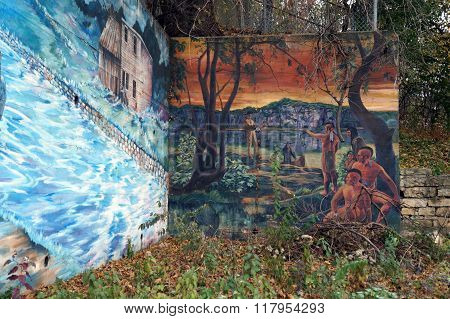 A Mural of Marquette Meeting Indians