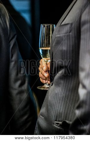 businessmen with champagne