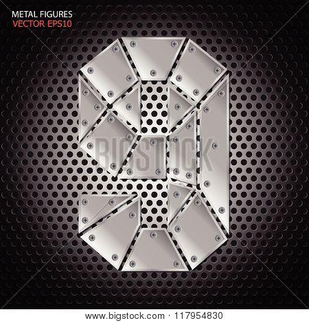 Metal Figures Nine Vector On Aluminum Background