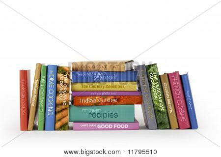 Cook books on white